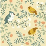 Birch Fabrics - Acorn Trail - KNIT - Bird And Branches in Cream