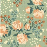 Birch Fabrics - Acorn Trail - KNIT - Peonies in Mint