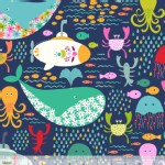 Blend Fabrics - Go Fish - Under the Sea in Navy