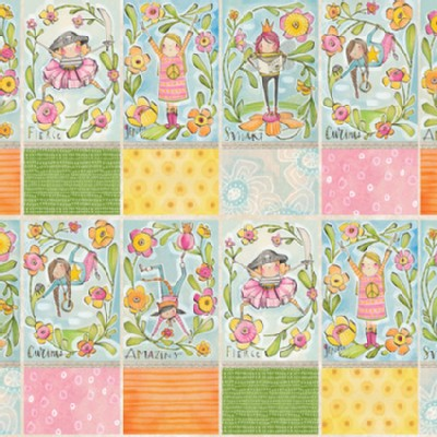 Blend Fabrics - Kids - Sugar and Spice - Girl Power Panel - 24in in Multi