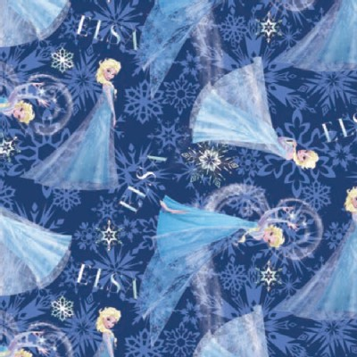 Character Prints - Princess - Frozen Elsa Character Toss Brushed Back Satin in Pink