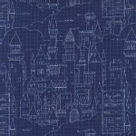 Michael Miller Fabrics - Magic - Castle Plans in Navy