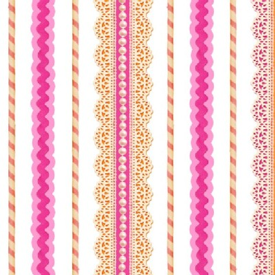 Quilting Treasures - Lalaloopsy - Lace Stripe in Pink