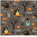Riley Blake Designs - Halloween - Witch Main in Gray