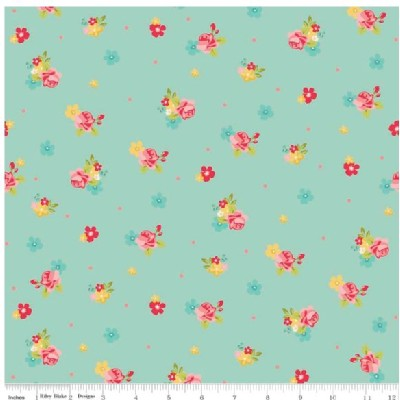 Riley Blake Designs - Hello Gorgeous - Flower Toss in Mint
