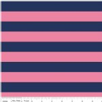 Riley Blake Designs - Knit Basics - Stripe in Navy / Hot Pink