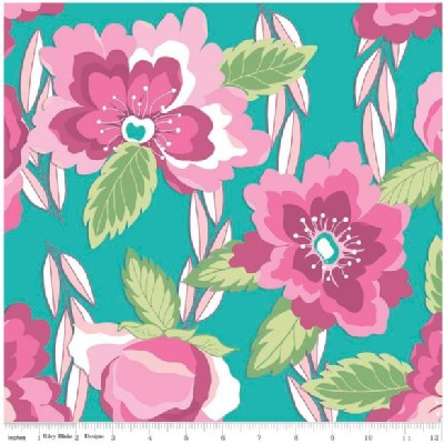 Riley Blake Designs - Knit Prints - Blossoms in Teal