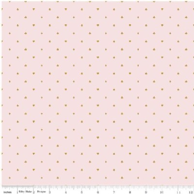 Riley Blake Designs - Wonderland - Cards in Pink Metallic