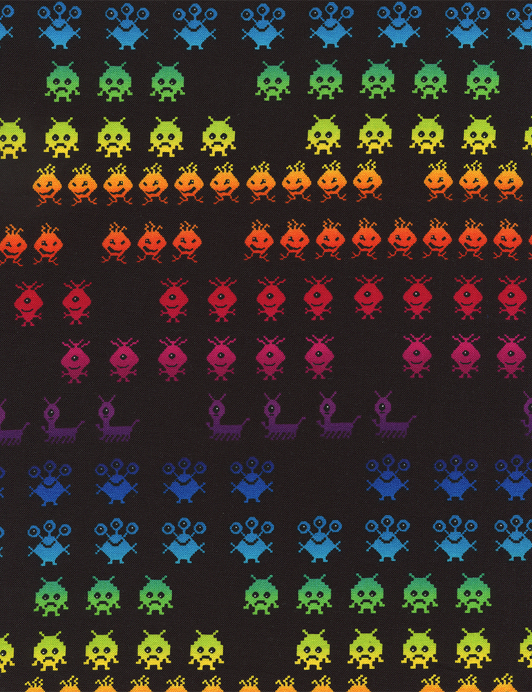 Timeless treasures fun pocket arcade invaders in black for Red space fabric