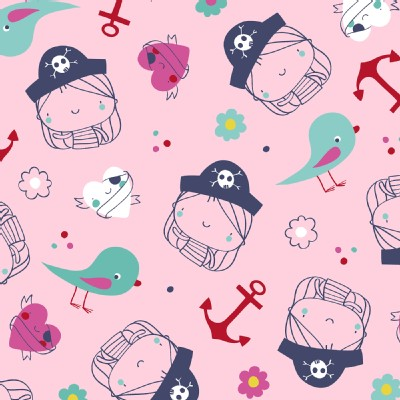 Windham Fabrics - Ahoy Matey - Pirate Girl in Pink