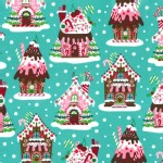 Michael Miller Fabrics - Holiday - Gingerbread Houses in Aqua