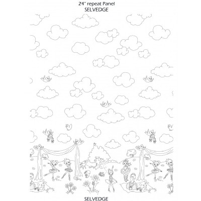 Michael Miller Fabrics - Kids - Color Me - Ballerina Border in White